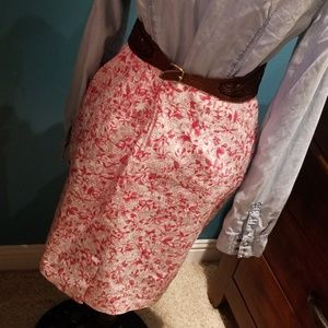 Vintage Skirts - Vintage made in USA red white floral skirt EUC! 12